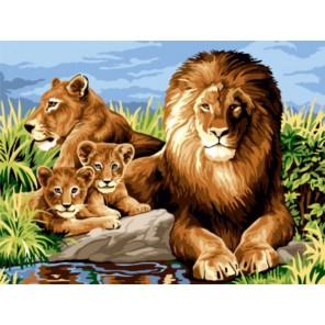 Львиная семья Раскраска картина по номерам акриловыми красками на холсте   Картина по цифрам купить