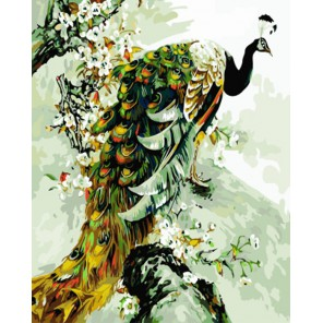 Королевский павлин Раскраска по номерам акриловыми красками на холсте