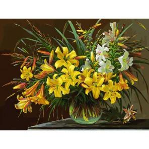 133-AS Золотая лилия Раскраска картина по номерам акриловыми красками на холсте Белоснежка
