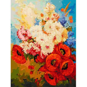 122-AS Цветочная мозаика Раскраска картина по номерам акриловыми красками на холсте Белоснежка