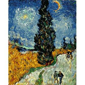 GX7927 Кипарисы на фоне звездного неба (репродукция Ван Гога) Раскраска картина по номерам акриловыми красками на холсте