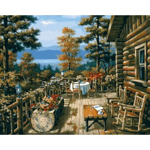 Терраса лесного домика (художник Ким Сунг) Раскраска картина по номерам акриловыми красками на холсте Menglei