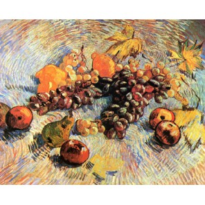 Натюрморт с яблоками и виноградом (репродукция Ван Гога) Раскраска картина по номерам на холсте Molly
