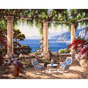 Два кресла и столик на террасе Раскраска картина по номерам на холсте