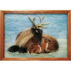 Олени Картина из шерсти с рамкой