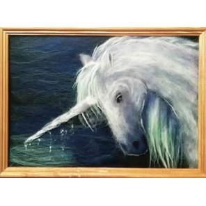 Единорог Картина из шерсти с рамкой