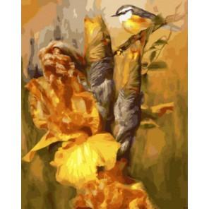 Синичка в желтых ирисах Раскраска картина по номерам акриловыми красками на холсте