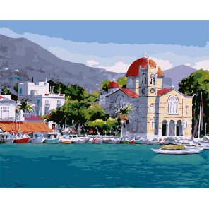 Греция Раскраска картина по номерам на холсте