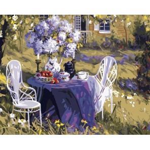 Лиловое чаепитие Раскраска картина по номерам на холсте