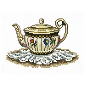 Чайник с цветочками Набор для вышивания Белоснежка