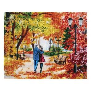 Осенний парк, скамейка, двое Набор для частичной вышивки бисером Белоснежка