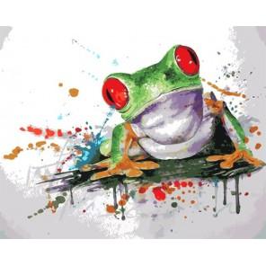 Лягушка Раскраска картина по номерам акриловыми красками на холсте Menglei