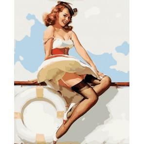 Девушка на яхте. Пинап Раскраска картина по номерам акриловыми красками на холсте Menglei
