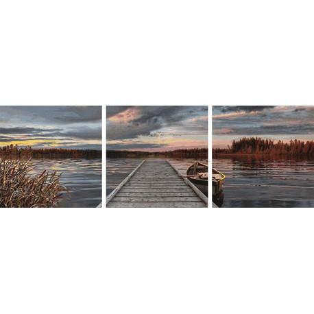 Восход на озере Триптих Раскраска по номерам Schipper ...
