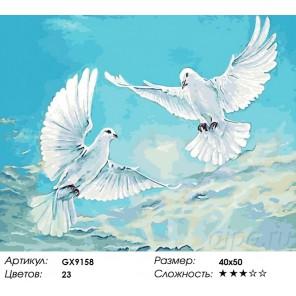 Количество цветов и сложность Голуби в небе Раскраска картина по номерам акриловыми красками на холсте