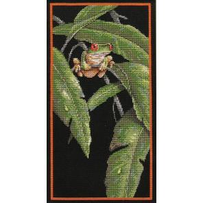 Древесная лягушка в листве Набор для вышивания Счетный крест Dimensions ( Дименшенс )