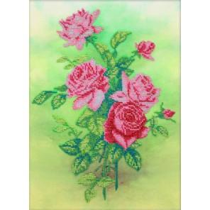 Розовые розы Набор для частичной вышивки бисером Паутинка