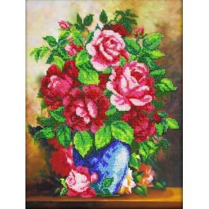 Ваза с розами Набор для частичной вышивки бисером Паутинка
