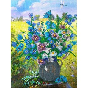 Полевые цветы Набор для частичной вышивки бисером Паутинка