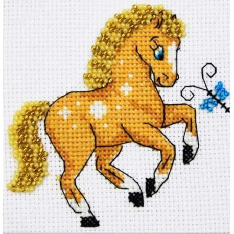 Лошадка Набор для частичной вышивки бисером Паутинка