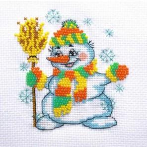 Снеговичок Набор для частичной вышивки бисером Паутинка