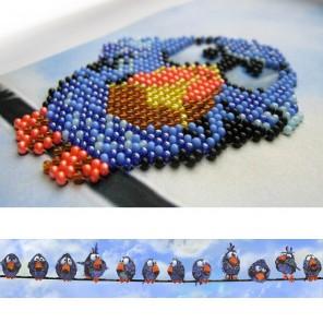 Воробьи Набор для частичной вышивки бисером Вышиваем бисером