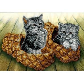 Котята Набор для частичной вышивки бисером Вышиваем бисером