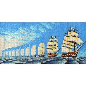 Иллюзия парусники Набор для частичной вышивки бисером Вышиваем бисером