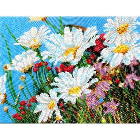 Весенние ромашки Марни Вард Набор для частичной вышивки бисером Вышиваем бисером