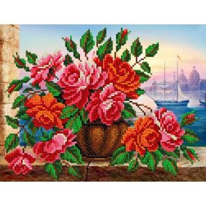 Розы в вазе Набор для частичной вышивки бисером Вышиваем бисером