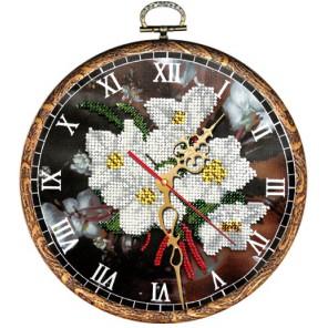 Часы Ромашки Набор с рамкой для частичной вышивки бисером Вышиваем бисером