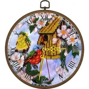 Часы Птичий дом Набор с рамкой для частичной вышивки бисером Вышиваем бисером