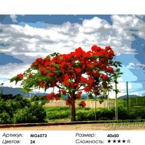 Сложность и количество цветов Огненное дерево Раскраска картина по номерам акриловыми красками на холсте Menglei MG6073