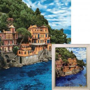 Лазурные воды Алмазная вышивка мозаика Гранни с примером готовой работы в рамке