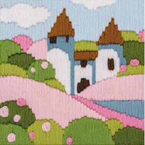 Розовый сад (длинный вертикальный стежок) Набор для вышивания Риолис