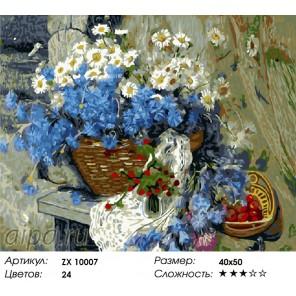 Количество цветов и сложность Букет васильков Раскраска картина по номерам акриловыми красками на холсте