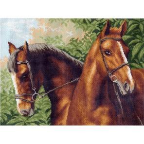 Пара лошадей Ткань с рисунком Матренин посад