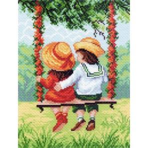 Пример вышитой работы в рамке На качелях Ткань с рисунком Матренин посад