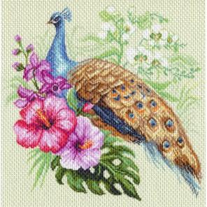 Павлин в цветах Ткань с рисунком Матренин посад