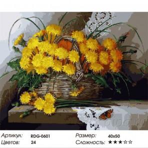 Одуванчики Раскраска картина по номерам акриловыми красками на холсте