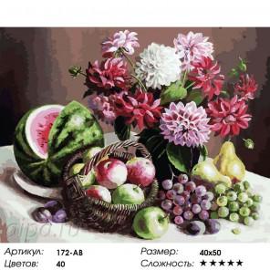 172-AB Георгины и фрукты Раскраска картина по номерам акриловыми красками на холсте Белоснежка