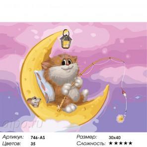Котик на Луне Раскраска ( картина ) по номерам акриловыми красками на холсте Белоснежка