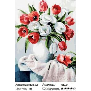 Красные и белые Раскраска ( картина ) по номерам акриловыми красками на холсте Белоснежка