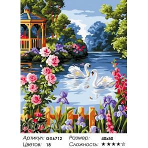 Количество цветов и сложность Лебеди на пруду Раскраска картина по номерам на холсте