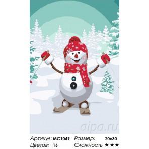 Снеговик на лыжах Раскраска по номерам на холсте Menglei