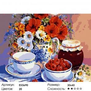 Количество цветов и сложность Чай с малиновым вареньем Раскраска картина по номерам на холсте