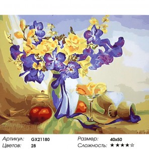 Количество цветов и сложность Натюрморт с апельсинами Раскраска картина по номерам на холсте