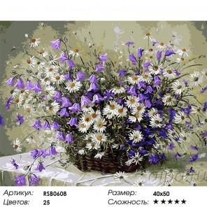 Количество цветов и сложность Корзина с ромашками и колокольчиками Раскраска картина по номерам на холсте