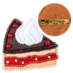 Шоколадное пирожное Брошка Набор для вышивания