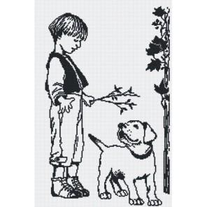 Мальчик с собакой (графика) Набор для вышивания МП Студия